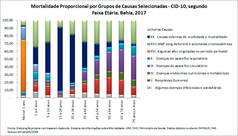 Mortalidade proporcional por grupos de causas, segundo faixa etária