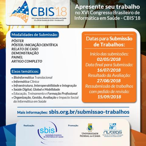 XVI Congresso Brasileiro de Informática em Saúde recebe submissões de trabalhos