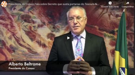 Presidente do Conass fala sobre Decreto que susta portarias do Tesouro Nacional a respeito de OSs