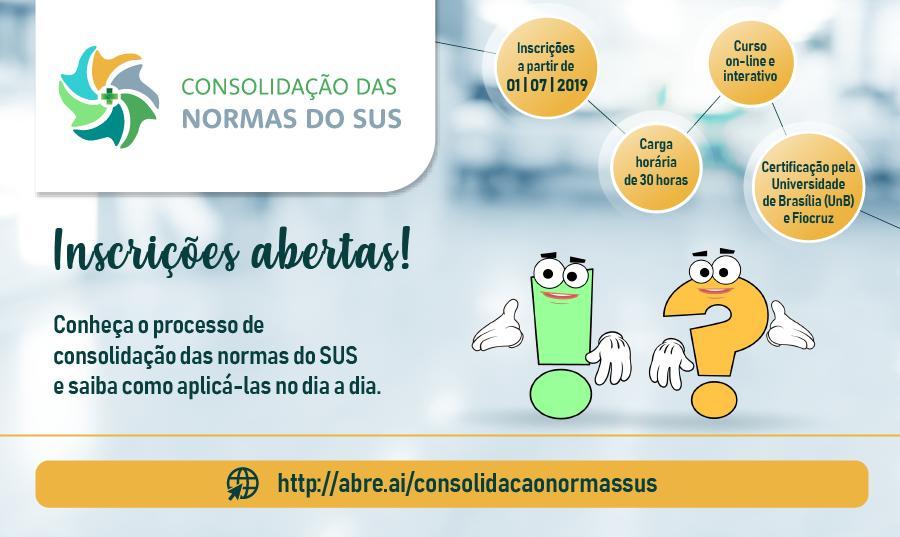 Universidade de Brasília (UnB) e Fiocruz oferecem curso online e gratuito sobre Consolidação das normas do SUS